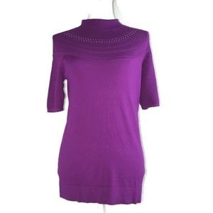 Cache Womens Size L Knit Top Purple Mock Neckline